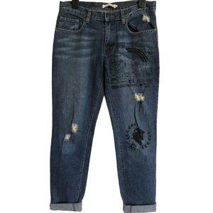 K2 Distressed High Rise Printed Mom Jeans Sz M 12